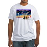 XmasSunrise/3 Cockers Fitted T-Shirt