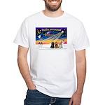 XmasSunrise/3 Cockers White T-Shirt
