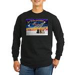 XmasSunrise/3 Cockers Long Sleeve Dark T-Shirt