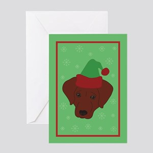 Santa Chocolate Lab Greeting Card
