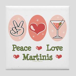 Peace Love Martini Tile Coaster