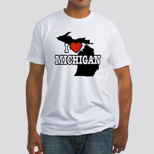 I Love Michigan Fitted T-Shirt