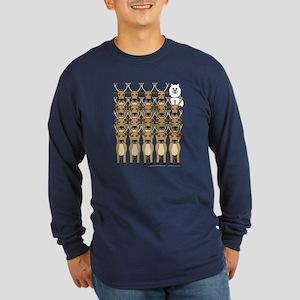 Samoyed and Reindeer Long Sleeve Dark T-Shirt