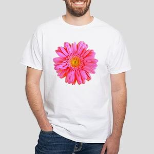 Gerbera (Bright Pink) White T-Shirt