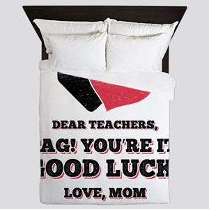 Funny Back to School art for Mom, Moth Queen Duvet