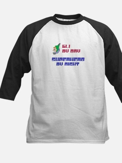 Eli - Super Hero by Night Kids Baseball Jersey