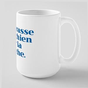 I Kiss my Dog on the Mouth (French) Large Mug