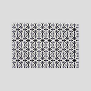 Blue Angel Trumpet Flower Pattern 4' x 6' Rug