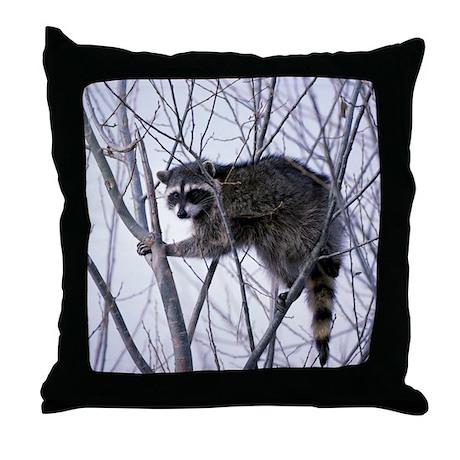 Rascally Raccoon Throw Pillow