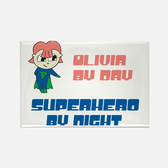 Olivia - Super Hero by Night Rectangle Magnet