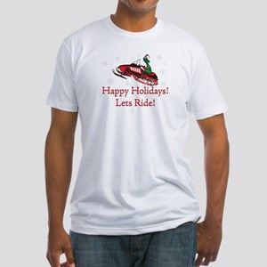 Happy Holidays Lets Ride Fitted T-Shirt