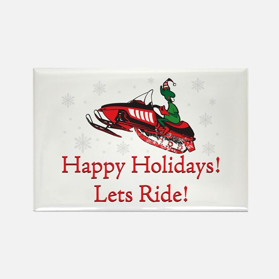 Happy Holidays Lets Ride Rectangle Magnet