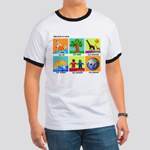 Recycle ReUse colorful design Ringer T
