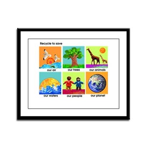 Recycle ReUse colorful design Framed Panel Print