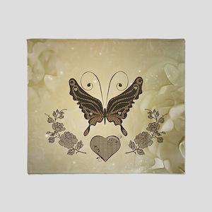 Beautiful elegant butterflies with heart Throw Bla