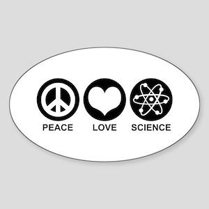 Peace Love Science Oval Sticker