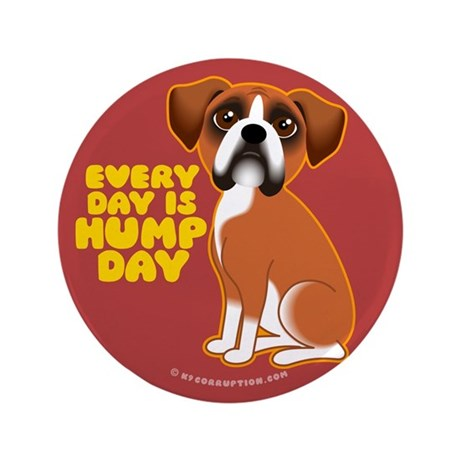 "HUMP DAY Boxer 3.5"" Button"