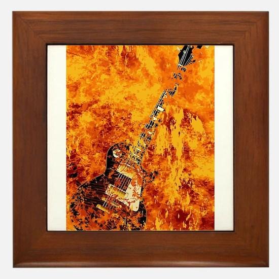 Burning Black Rock Guitar Framed Tile