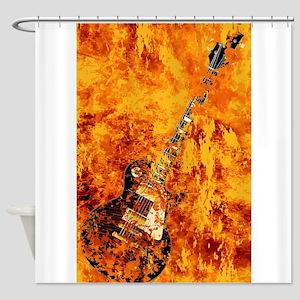 Burning Black Rock Guitar Shower Curtain