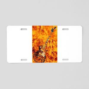 Burning Black Rock Guitar Aluminum License Plate