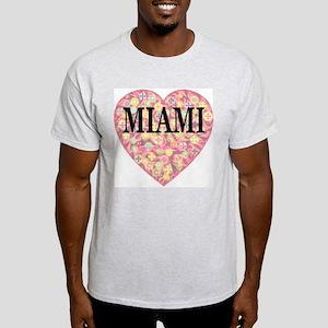 Miami Starburst Heart Ash Grey T-Shirt
