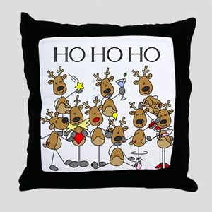 Ho Ho Ho Reindeer Throw Pillow