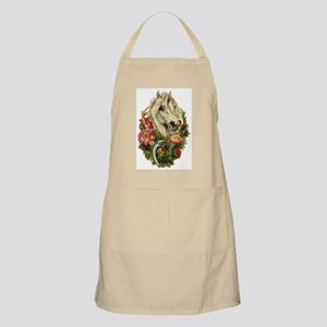 WHITE HORSE AND FLOWERS BBQ Apron
