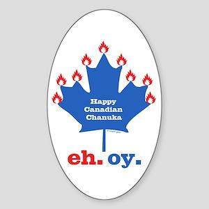 Canadian Chanukah Sticker (Oval)