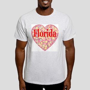 Florida Red Hot Starburst Hea Ash Grey T-Shirt