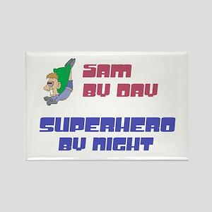 Sam - Super Hero by Night Rectangle Magnet