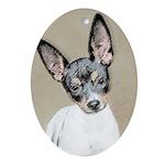 Rat Terrier Oval Ornament