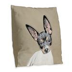 Rat Terrier Burlap Throw Pillow