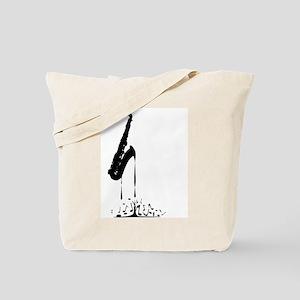 Melting Saxophone Silhouette Tote Bag