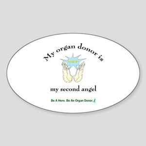 Organ Donor Angel Wings Oval Sticker