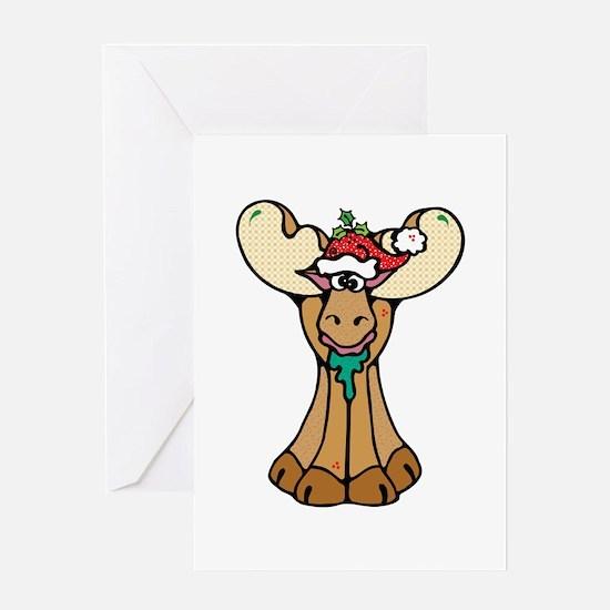 Cute Christmas Moose Greeting Card