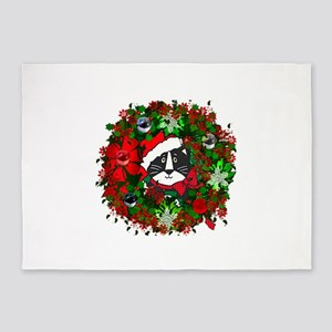 Cat In Christmas Wreath 5'x7'Area Rug