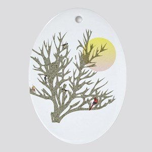 Winter Birds & Tree Oval Ornament