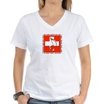 Swiss Musical Note Women's V-Neck T-Shirt