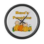 Nana's Pumpkins Large Wall Clock