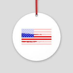USA Flag Splash Round Ornament