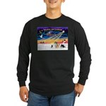 XmasSunrise/4 Pomeranians Long Sleeve Dark T-Shirt