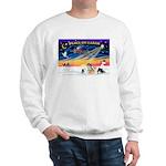 XmasSunrise/4 Pomeranians Sweatshirt