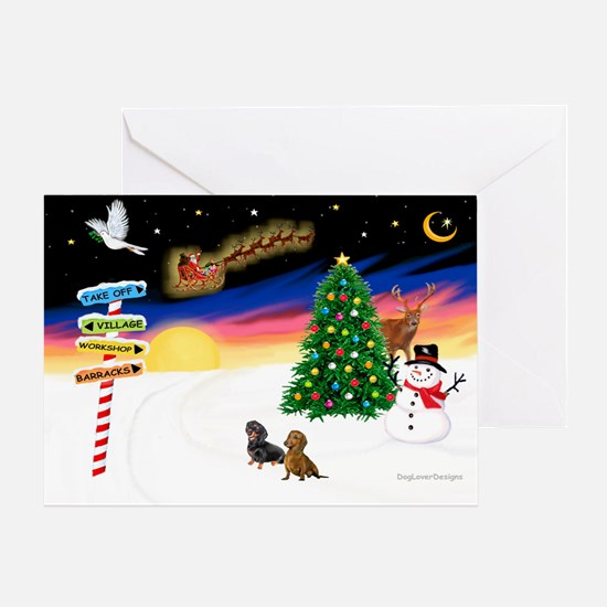 XmasSigns/2 Dachshunds Greeting Card