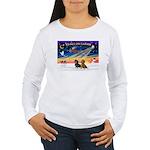 XmasSunrise/2 Dachshunds Women's Long Sleeve T-Shi