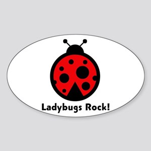 Ladybugs Rocks! Oval Sticker