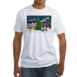XmasMagic/2 Border Collies Fitted T-Shirt