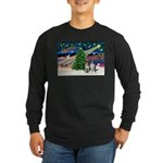 XmasMagic/2 Border Collies Long Sleeve Dark T-Shir