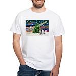 XmasMagic/2 Border Collies White T-Shirt