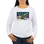 XmasMagic/2 Border Collies Women's Long Sleeve T-S