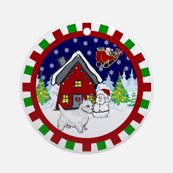 Cute Westie Christmas Ornament (Round)
